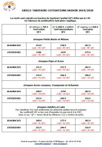 GRILLE TARIFAIRE COTISATIONS 19-20