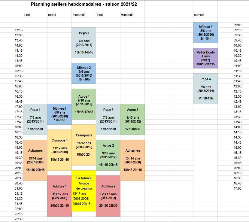 planning des ateliers hebdomadaires 21/22