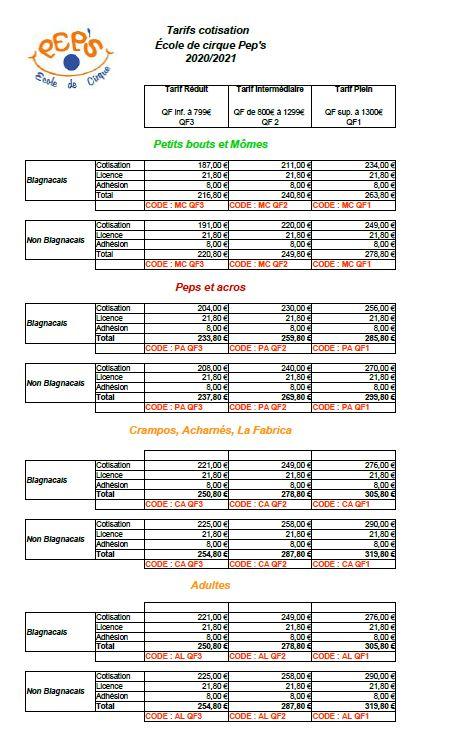 tarifs cotisation 2020-21
